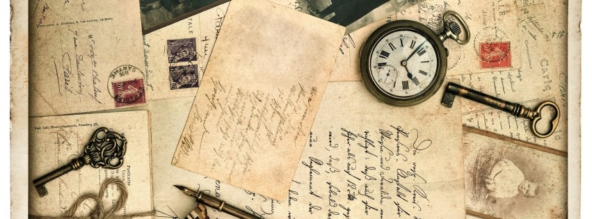Vintage Old Time Letters Keys and Watches Facebook cover photo