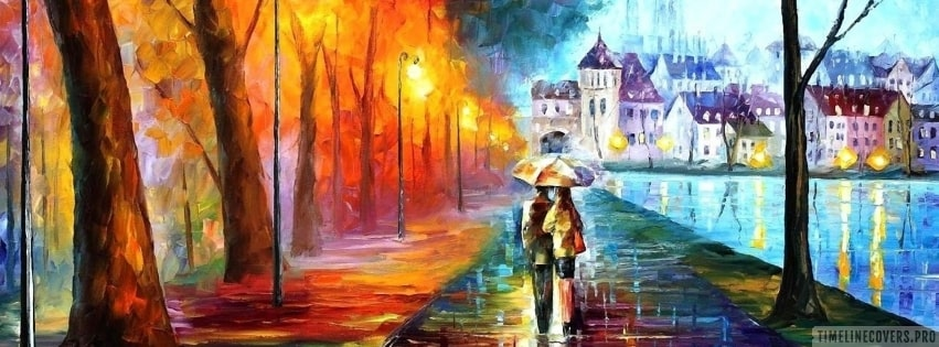 Walking Together in Rain Facebook cover photo