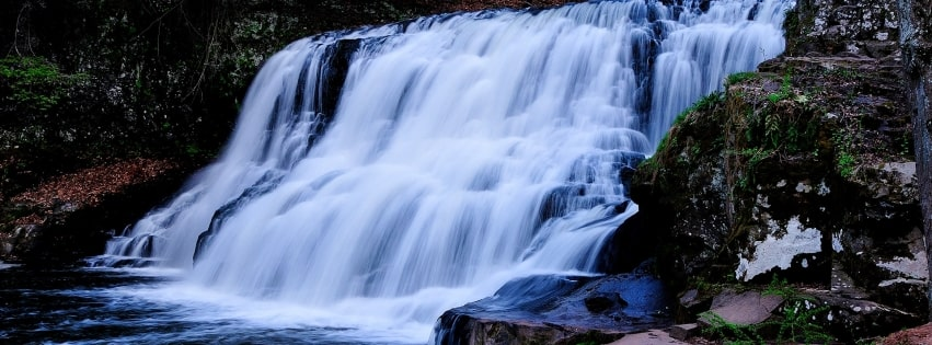 Waterfall in Forest Facebook cover photo