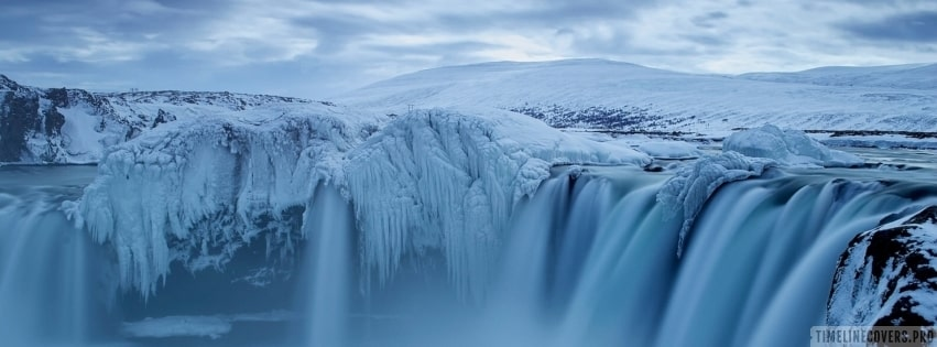Winter Waterfall Facebook cover photo