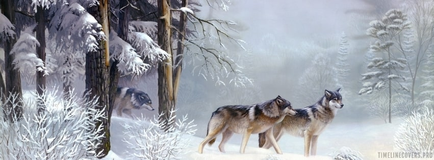 Wolves in Winter Forest Painting Facebook cover photo
