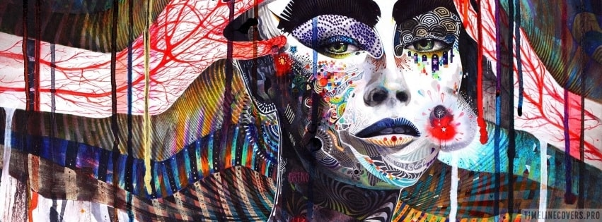 Woman Face Psychedelic Illustration Facebook cover photo