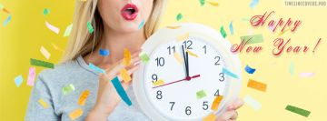 2021 Happy New Year Confetti Clock Woman Facebook Wall Image