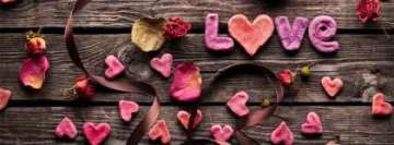 Love on Wooden Table Facebook Cover