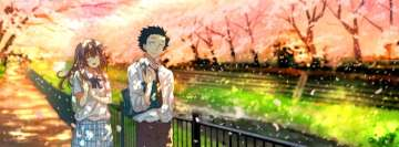 Anime Koe No Katachi Walking in a Park Facebook Banner