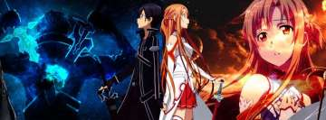 Anime Sword Art Online Kirito and Asuna Yuuki Facebook Cover-ups