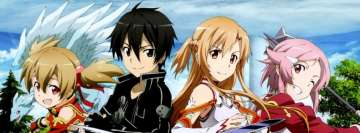 Anime Sword Art Online Silica Kirito Asuna and Lisbeth Facebook Banner