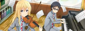 Anime Your Lie in April Playing Music Facebook Wall Image