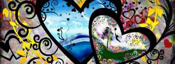 Artistic Colorful Hearts Facebook Wall Image
