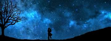Artistic Love Starry Night Romantic Silhouette Facebook Cover
