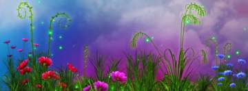 Artistic Path Blue Red and Pink Flowers Facebook cover photo