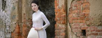 Asian Lady in White Dress Facebook Cover