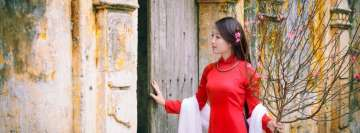 Asian Woman in Red Dress TimeLine Cover