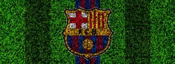 Barca Logo on Grass Facebook Background TimeLine Cover