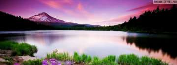 Beautiful Natural Lake Dressed in Pink Facebook Wall Image