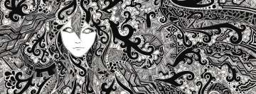 Black and White Psychedelic Facebook Banner