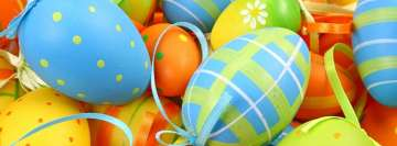 Blue Green Orange Easter Eggs Facebook Background