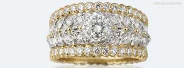 Buccellati Band Ring with White and Yellow Gold and Diamonds Facebook Cover-ups