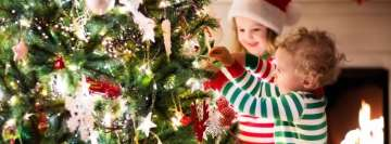 Children Decorate Christmas Tree Facebook Cover