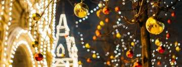 Christmas Golden Street Decorations Facebook Cover