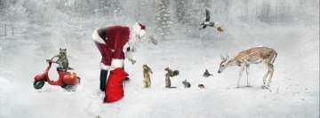 Christmas Magic with Santa and Cute Animals Facebook Background TimeLine Cover