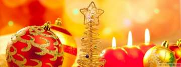 Christmas Ornaments with Candles Facebook Banner