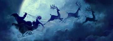 Christmas Santa Claus and Reindeers Traveling Facebook Banner
