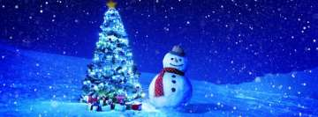 Christmas Tree with Snowman Facebook cover photo