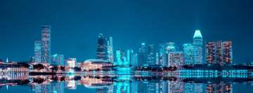 Cityscape Night Reflection Facebook Background
