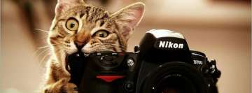 Cute Photographer Cat Facebook Cover