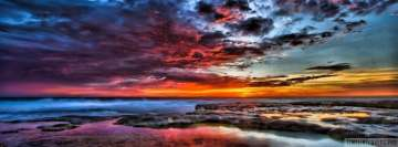 Dark Cloudy Ocean Sunset Facebook Banner