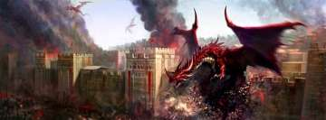 Fantasy Dragons Destroying a City Facebook cover photo