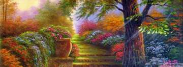 Fantasy Landscape Garden with Colorful Flowers