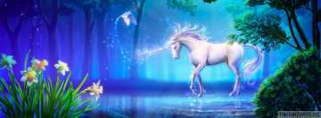 Fantasy Magical White Unicorn Facebook Cover