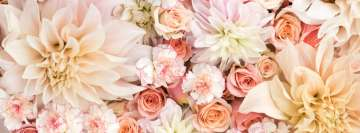 Flowers Dahlias Roses and Carnations in Pastels Facebook Banner