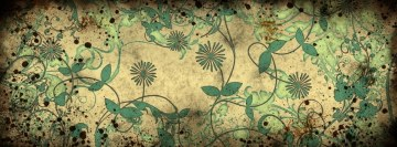 Flowers Grunge Leaves Design Facebook Cover