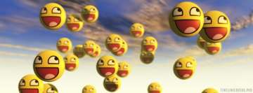 Flying Smileys Positive Facebook Background