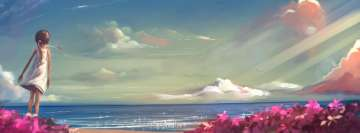 Girl at The Sea Anime Scenery Facebook Cover Photo