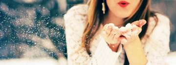 Girl Blows Snow Christmas Holiday Facebook cover photo