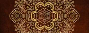 Gold Flower Mandala on Rusty Red Background Facebook Cover