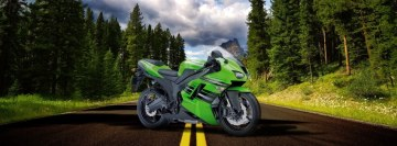 Green Bike on The Road Facebook Background TimeLine Cover