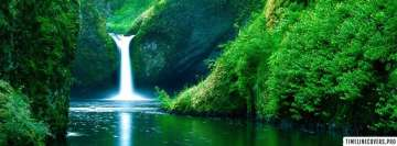 Green Forest Waterfall Facebook Background TimeLine Cover