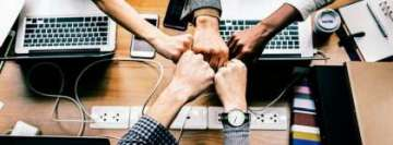 Group Hand Fist on Business Meeting Facebook Cover