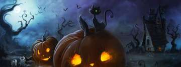 Halloween Cat and Lantern Facebook Wall Image
