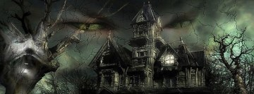 Halloween Mansion Facebook Background TimeLine Cover