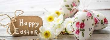 Happy Easter Wish with White Eggs Facebook Background TimeLine Cover