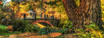 Hdr Photo Bridge in Autumn Park Facebook Background TimeLine Cover