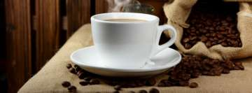 Hot Coffee with Coffee Beans Facebook cover photo