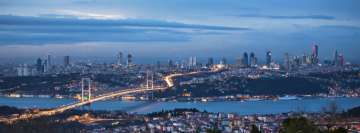 Istanbul Bosphorus and Bridge at Night Facebook Banner