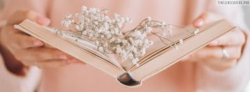Knitted Book and White Dry Flowers Fb Cover
